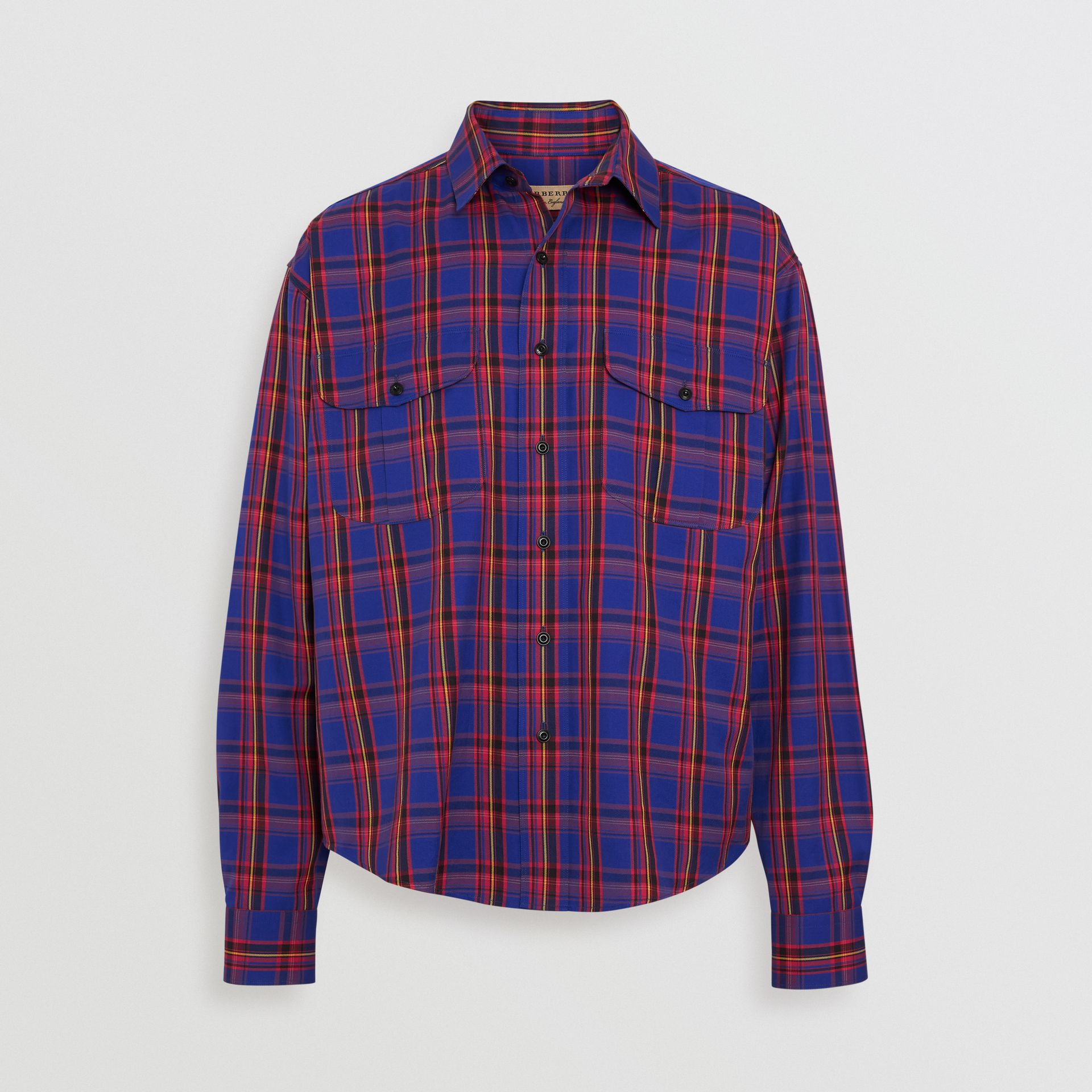 Check Cotton Twill Shirt in Bright Blue - Men | Burberry United States - gallery image 3