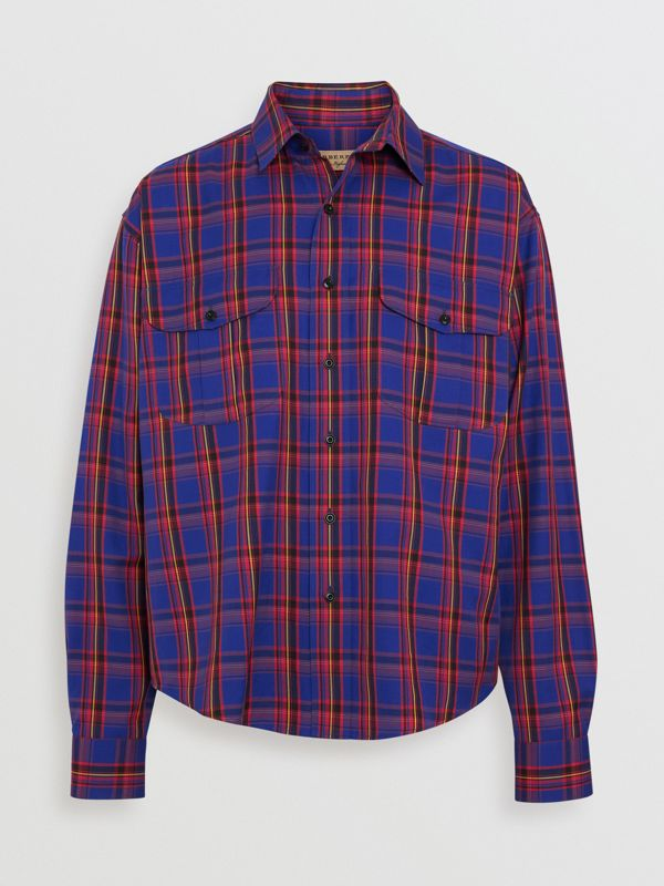 Check Cotton Twill Shirt in Bright Blue - Men   Burberry United States - cell image 3