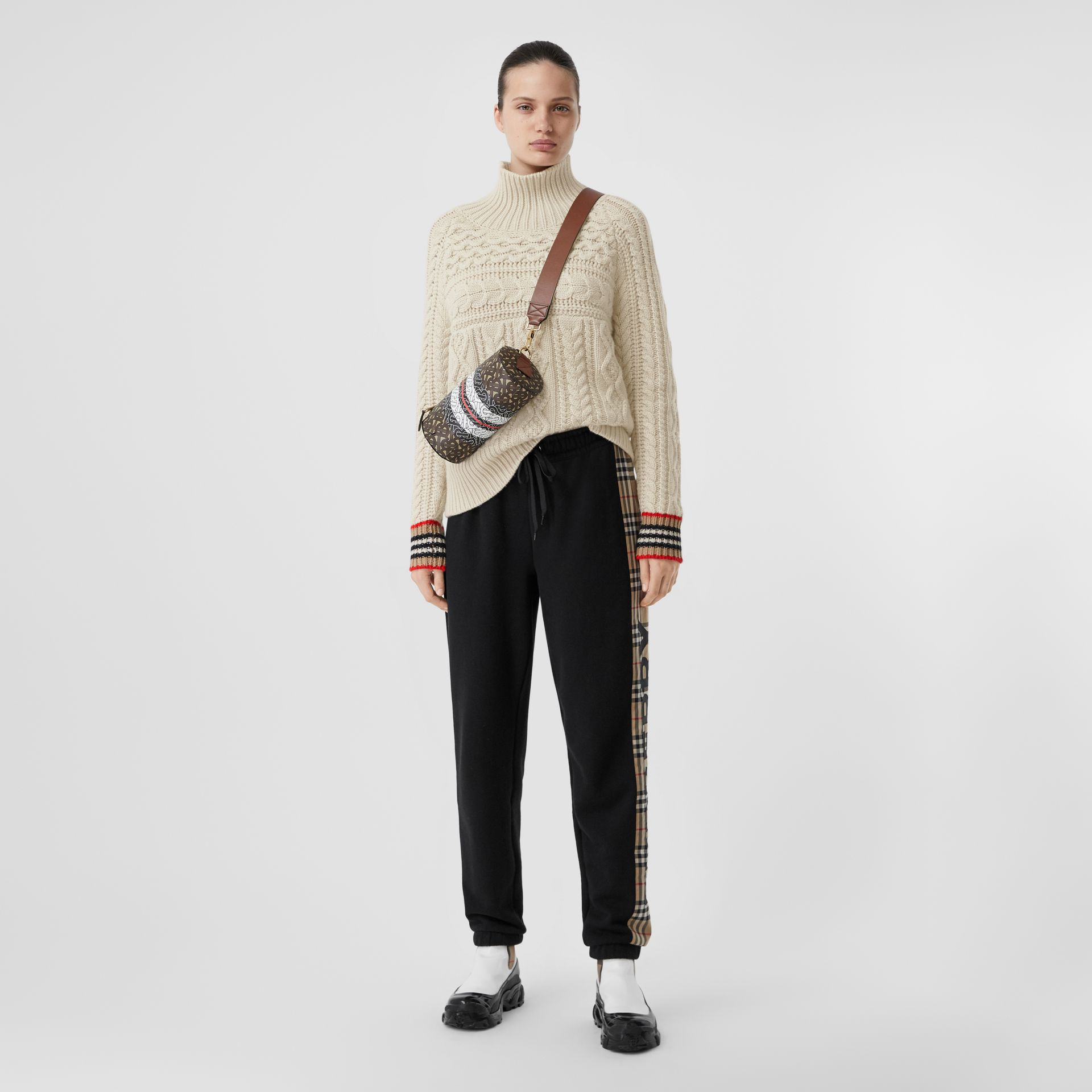 Icon Stripe Cuff Cable Knit Cashmere Sweater in Natural White - Women | Burberry - gallery image 4