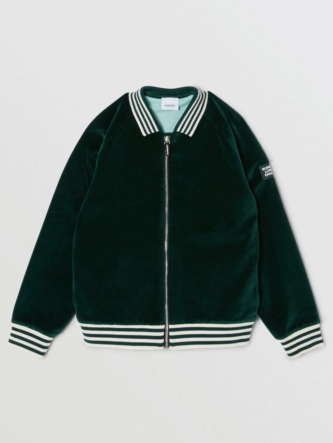 Stripe Trim Velour Track Top in Dark Pine Green