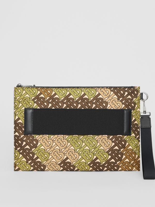 Monogram Print Zip Pouch in Khaki Green | Burberry - cell image 3