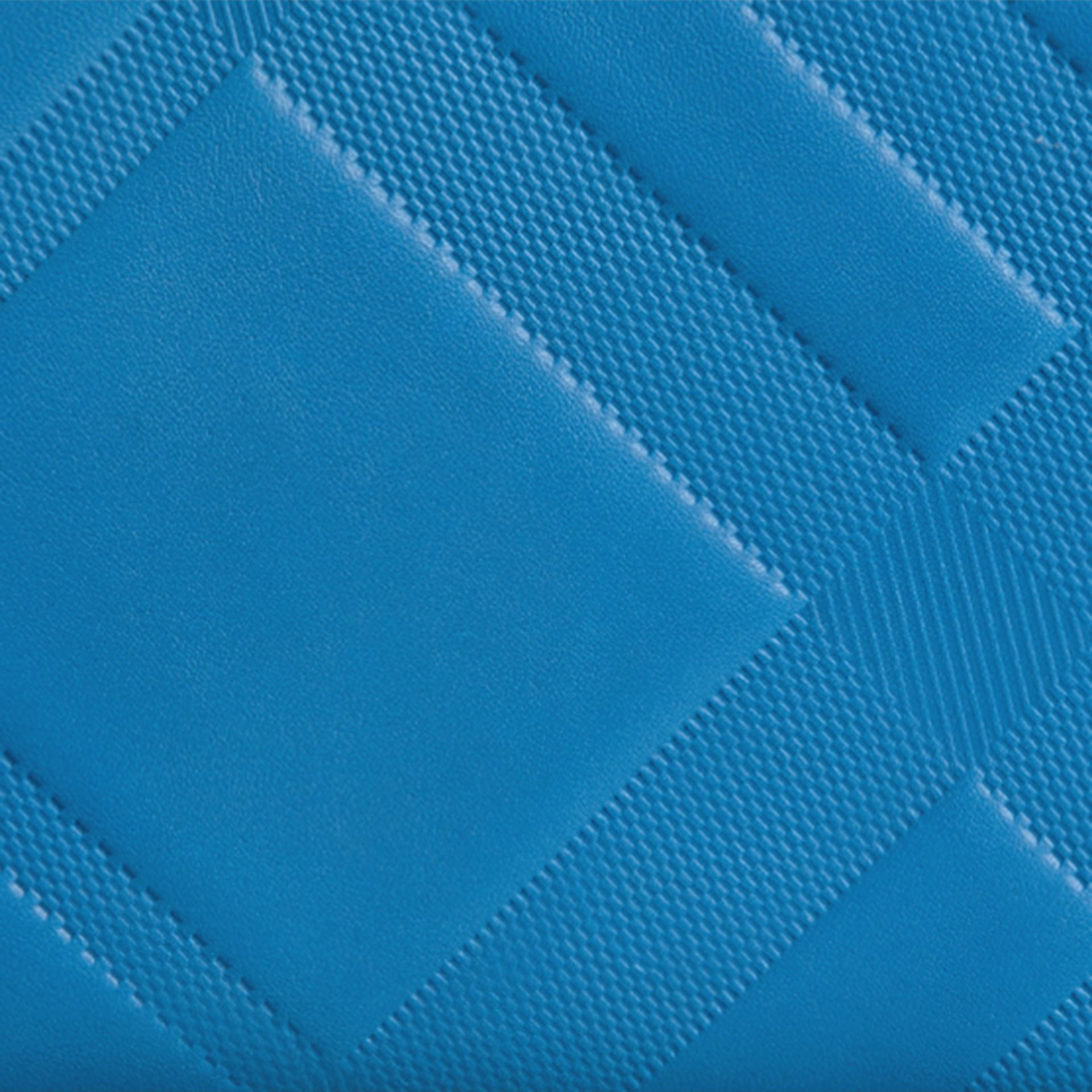 Blue azure Check-embossed Leather Ziparound Wallet Blue Azure - gallery image 2