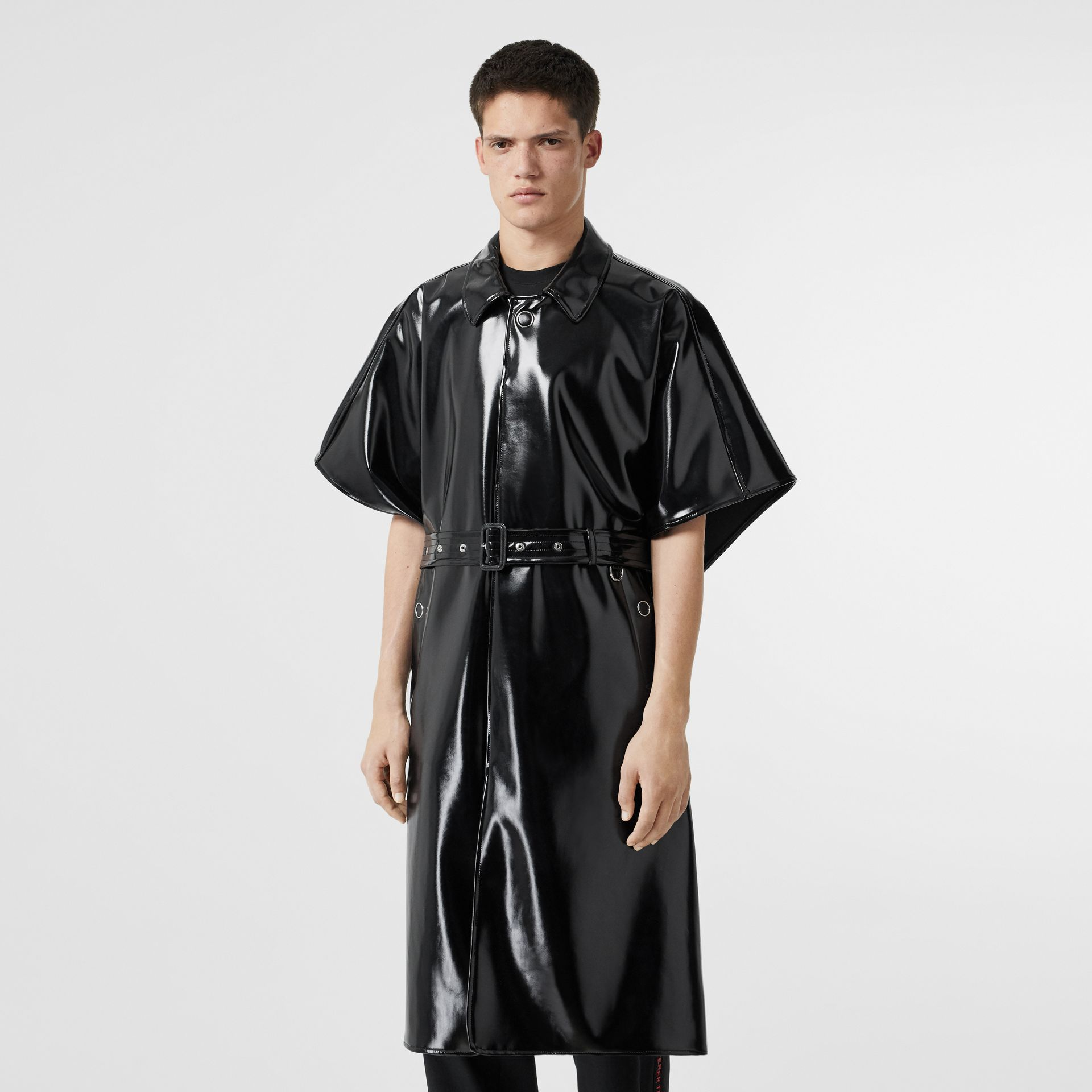 Vinyl Belted Cape in Black | Burberry - gallery image 4