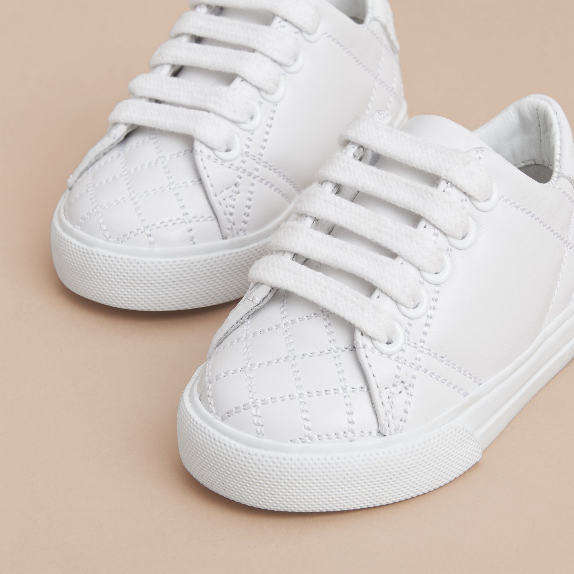 Check Detail Leather Trainers in Optic White | Burberry United States - gallery image 3