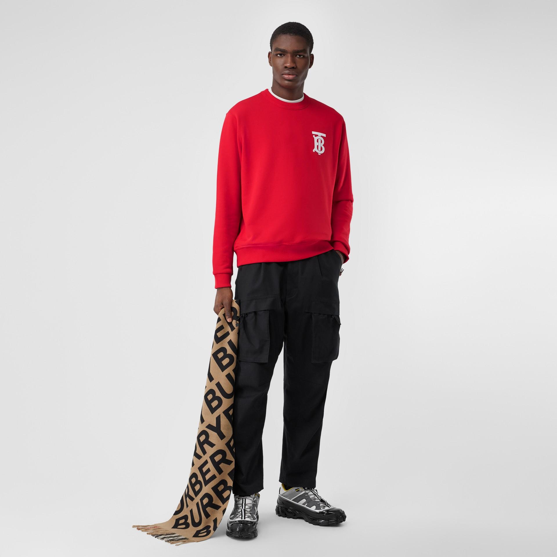 Monogram Motif Cotton Sweatshirt in Bright Red - Men | Burberry United Kingdom - gallery image 4