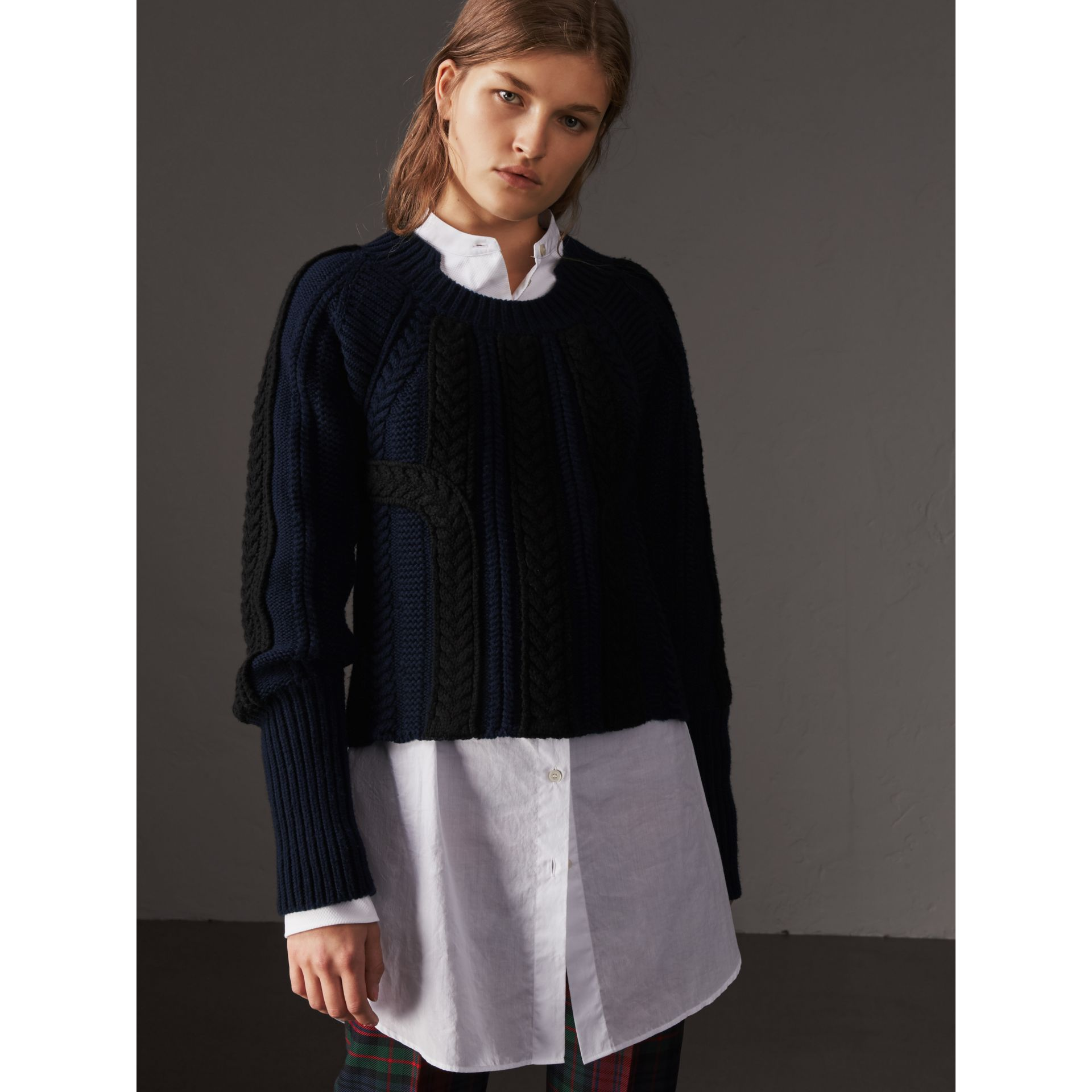 Two-tone Cable Knit Wool Cashmere Sweater in Navy - Women | Burberry - gallery image 5