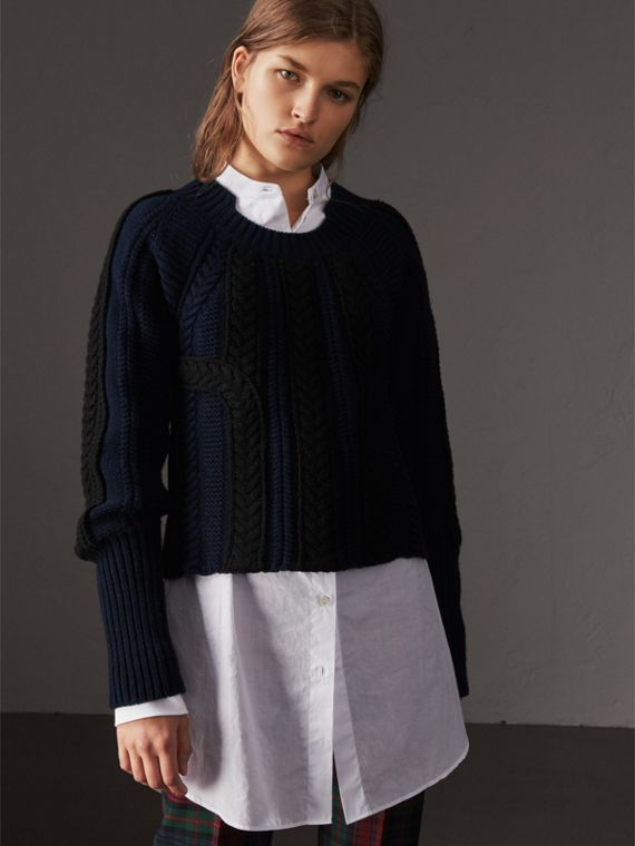 Two-tone Cable Knit Wool Cashmere Sweater in Navy
