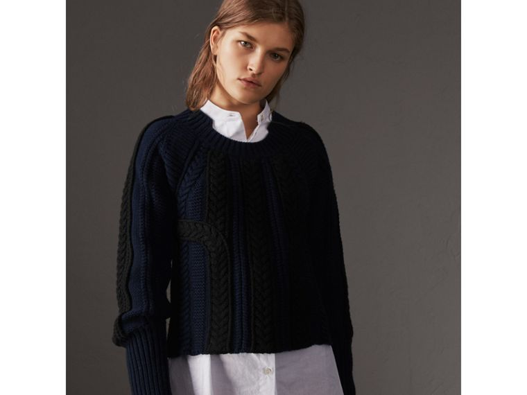 Two-tone Cable Knit Wool Cashmere Sweater in Navy - Women | Burberry United States - cell image 4