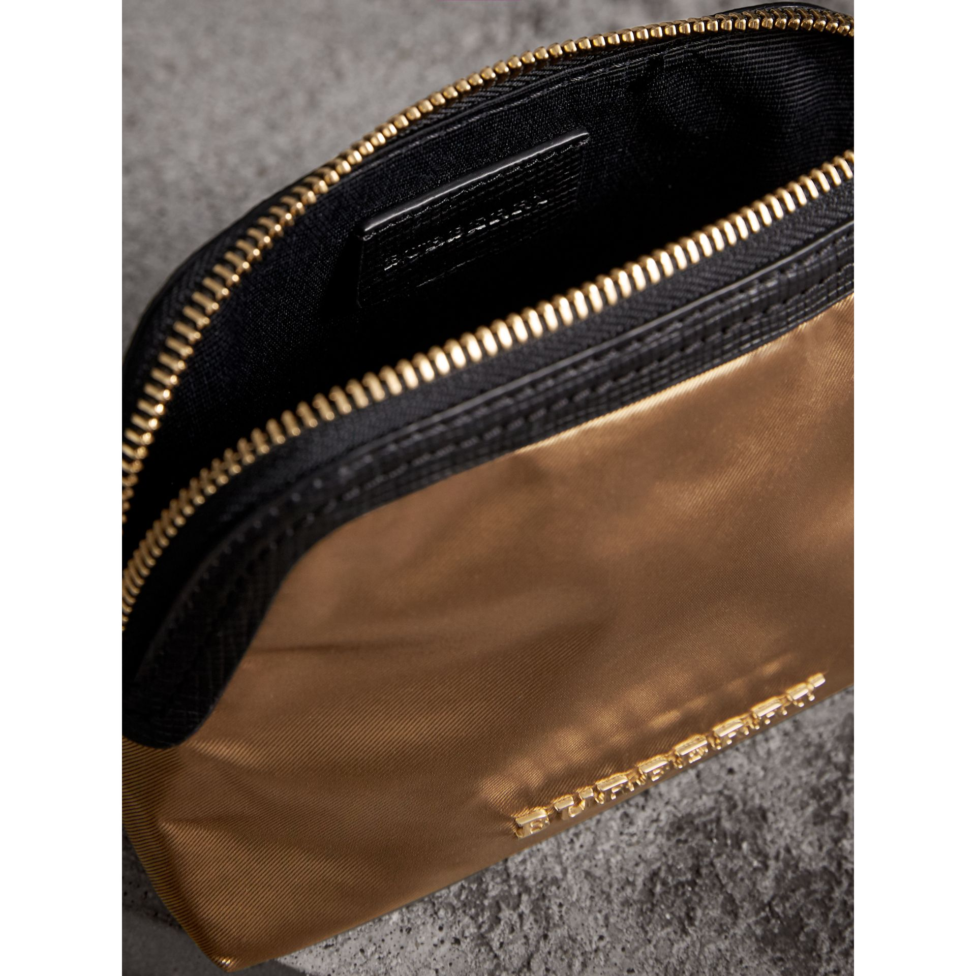 Small Zip-top Leather-trimmed Technical Nylon Pouch in Gold/black - Women | Burberry - gallery image 4