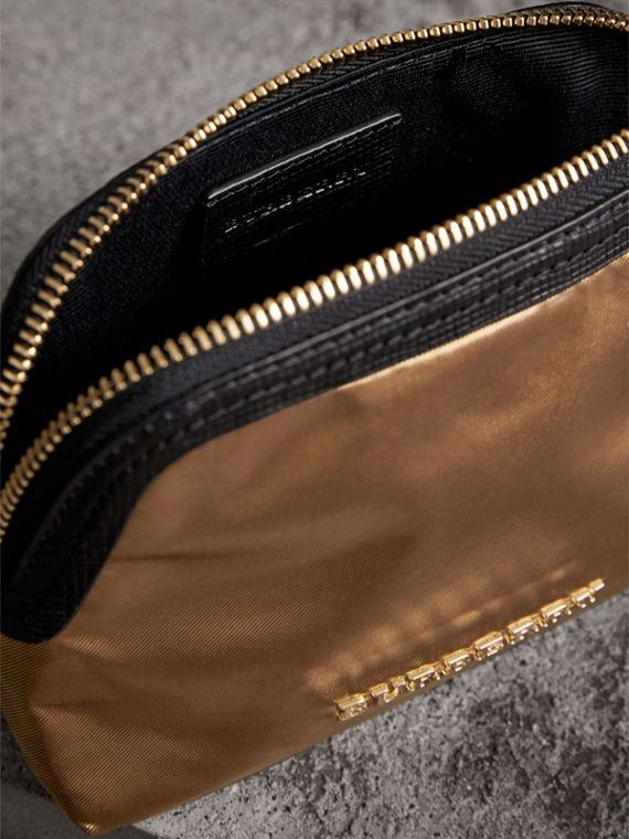 Small Zip-top Leather-trimmed Technical Nylon Pouch in Gold/black - Women | Burberry - cell image 3