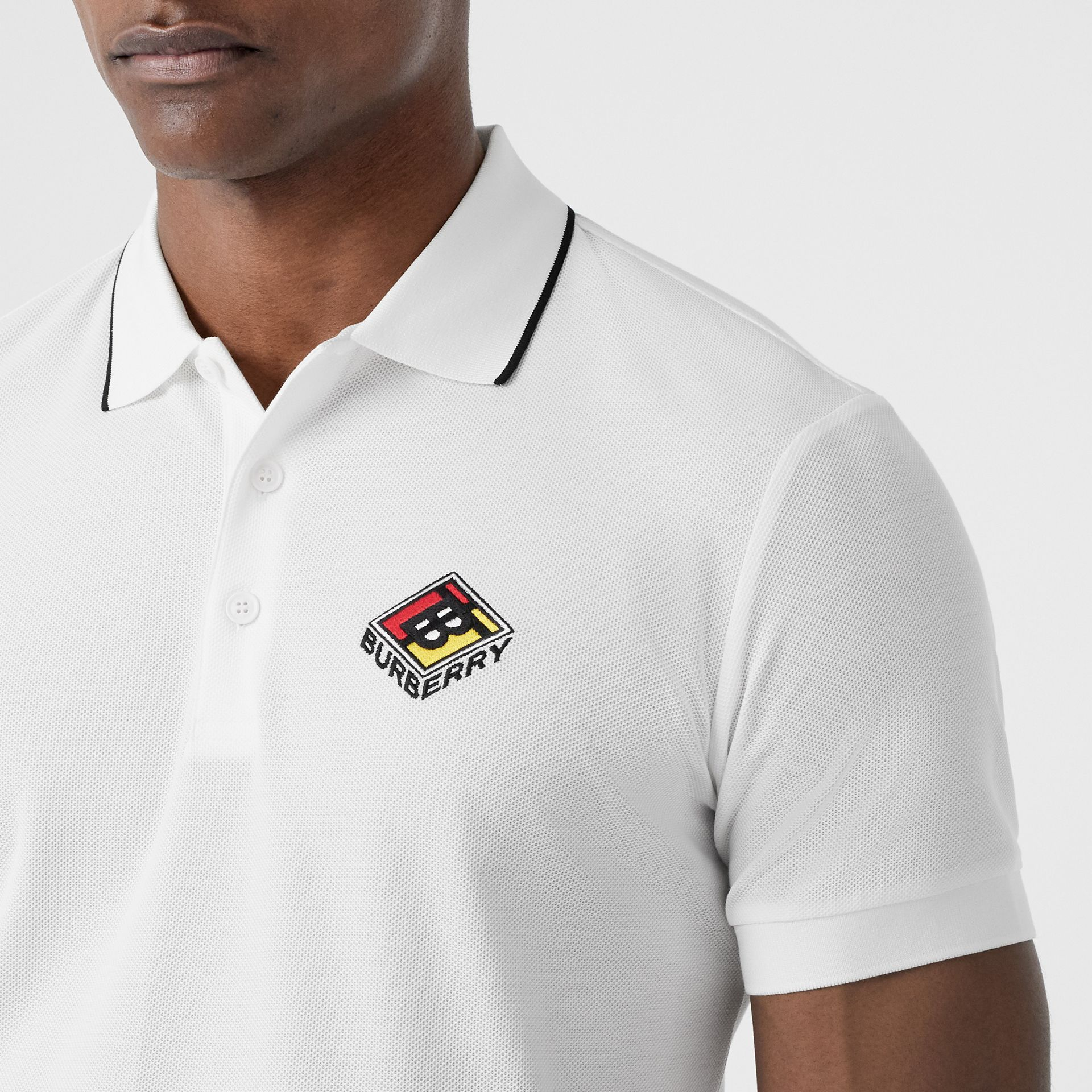 Logo Graphic Cotton Piqué Polo Shirt in White - Men | Burberry - gallery image 1