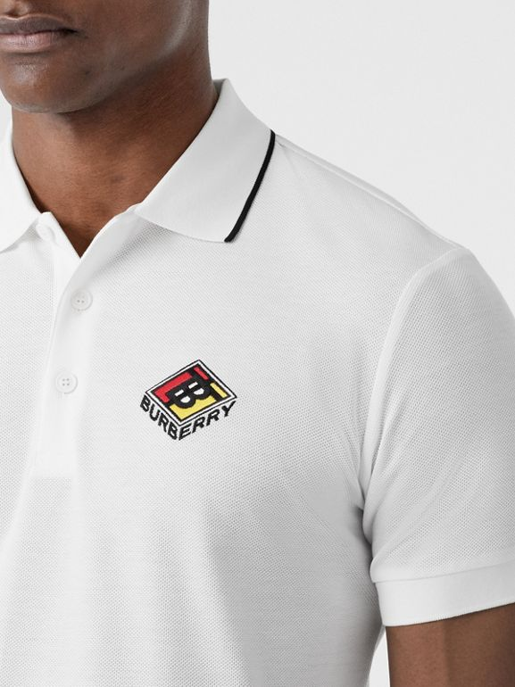 Logo Graphic Cotton Piqué Polo Shirt in White - Men | Burberry - cell image 1
