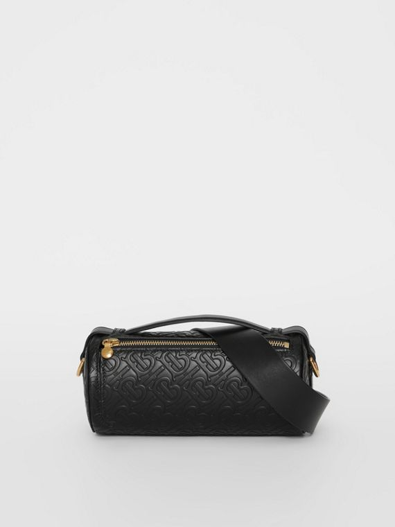 The Monogram Leather Barrel Bag in Black