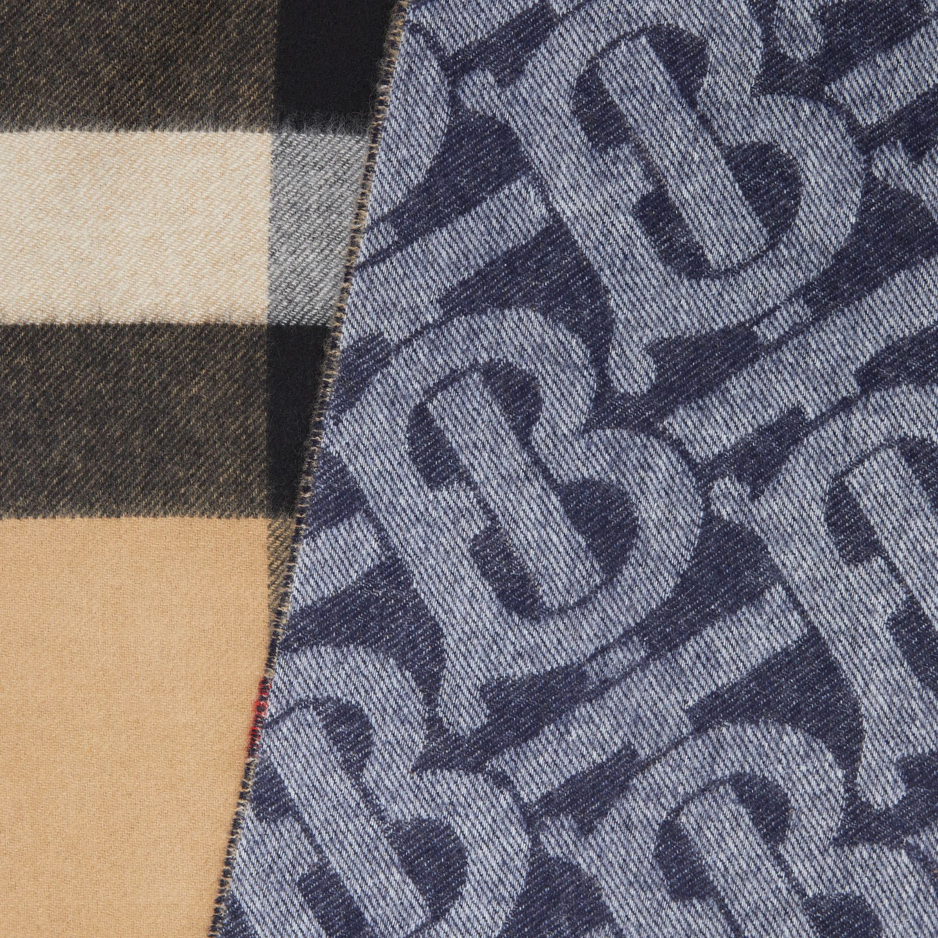 Reversible Check and Monogram Cashmere Scarf in Indigo | Burberry Singapore - gallery image 1