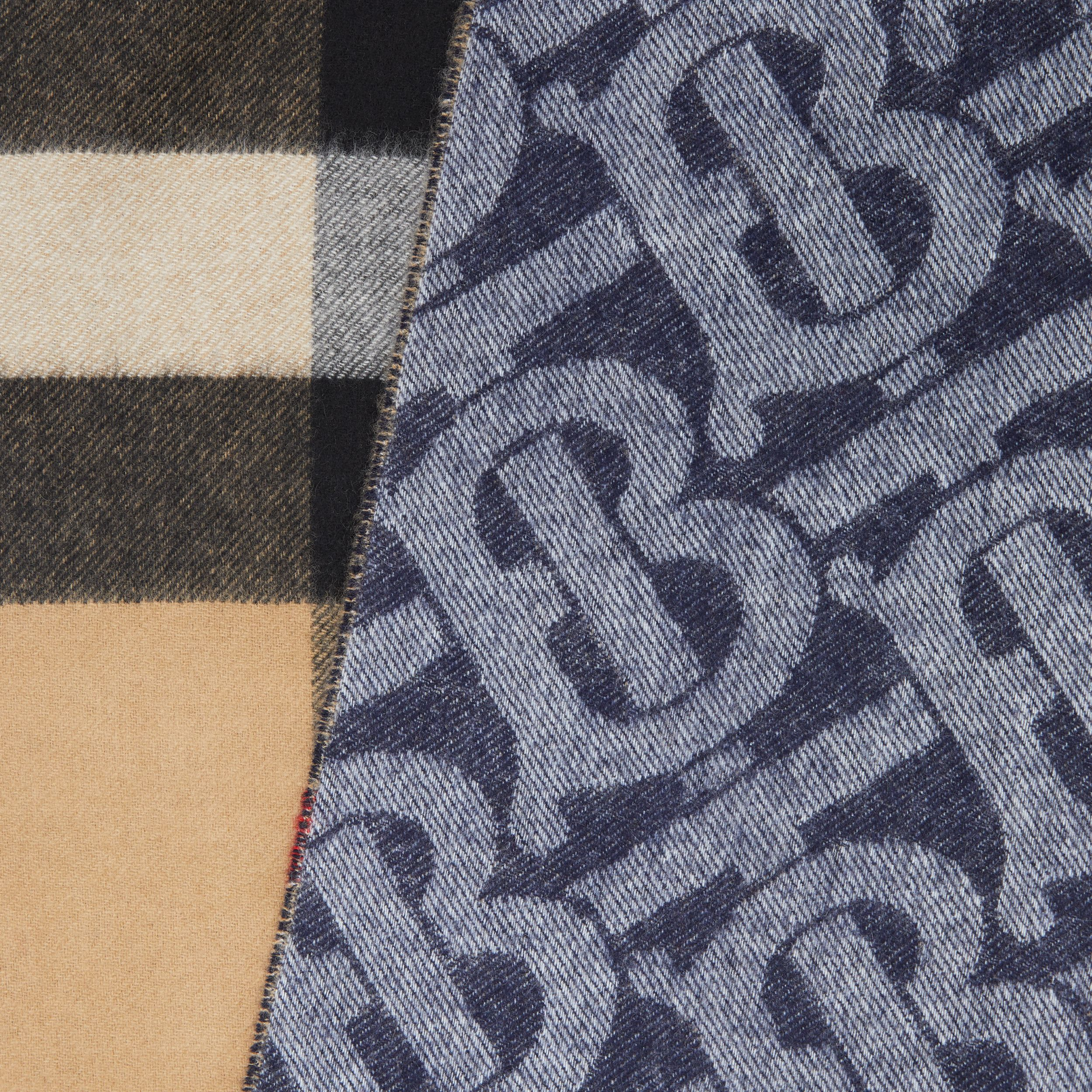 Reversible Check and Monogram Cashmere Scarf in Indigo | Burberry - 2