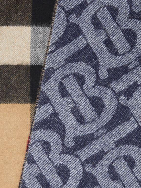 Reversible Check and Monogram Cashmere Scarf in Indigo | Burberry - cell image 1