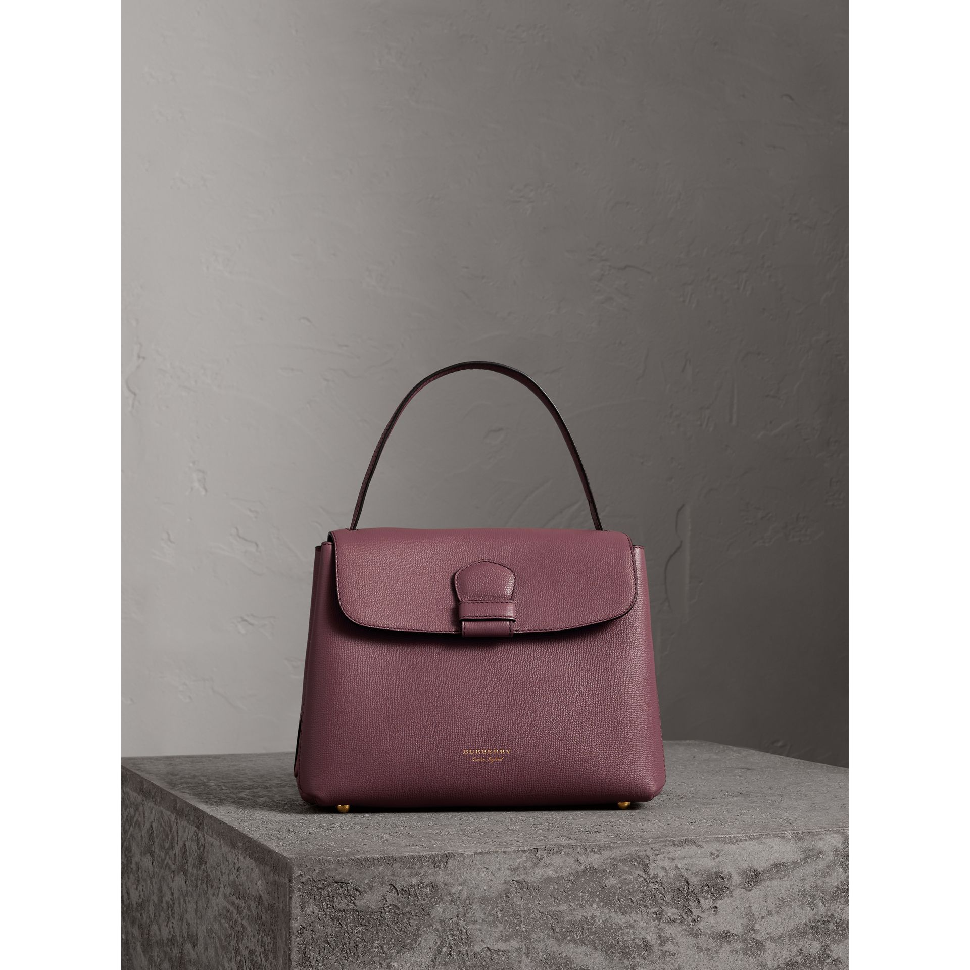 Medium Grainy Leather and House Check Tote Bag in Mahogany Red - Women | Burberry United States - gallery image 6