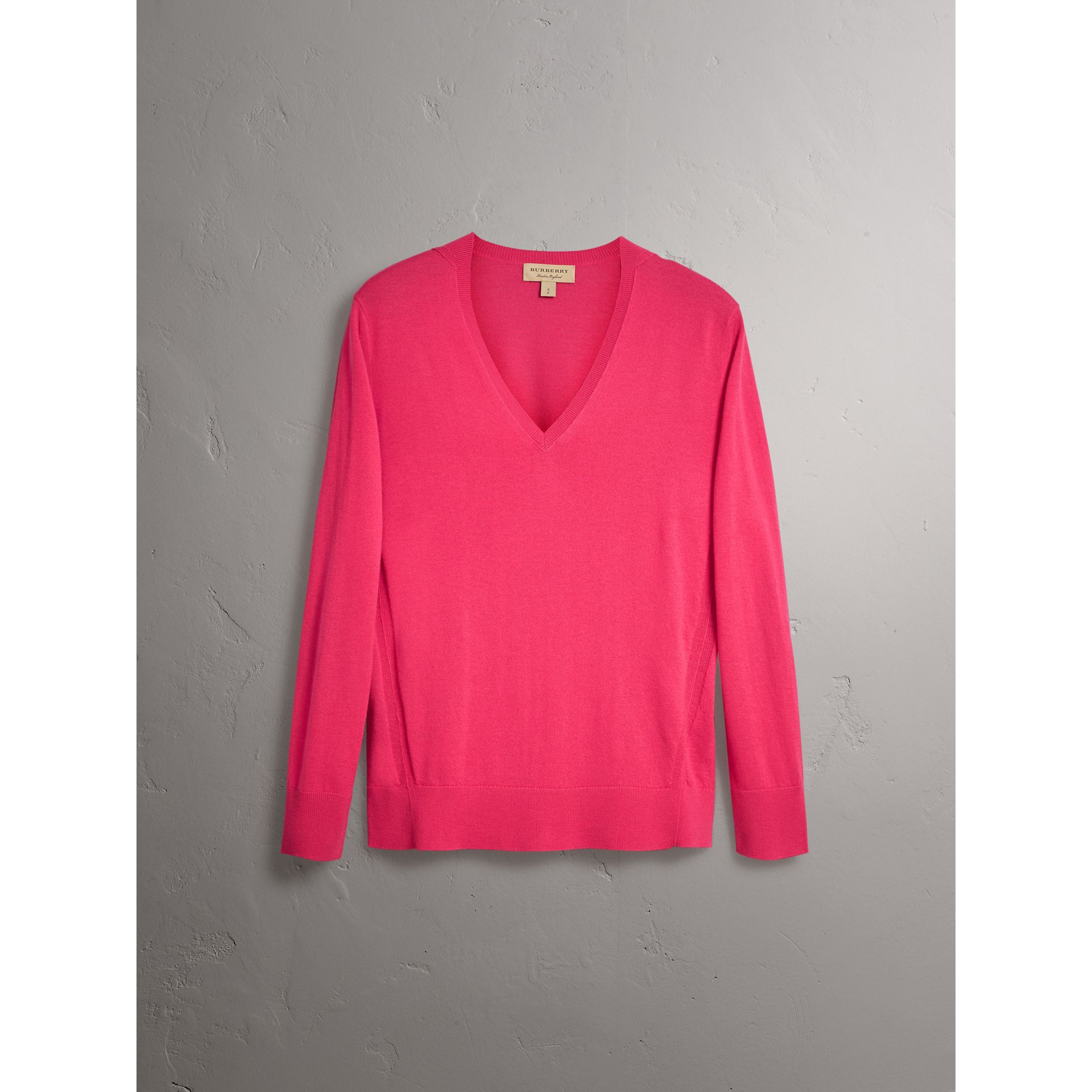 Check Detail Cashmere V-neck Sweater in Bright Pink - Women | Burberry - gallery image 3