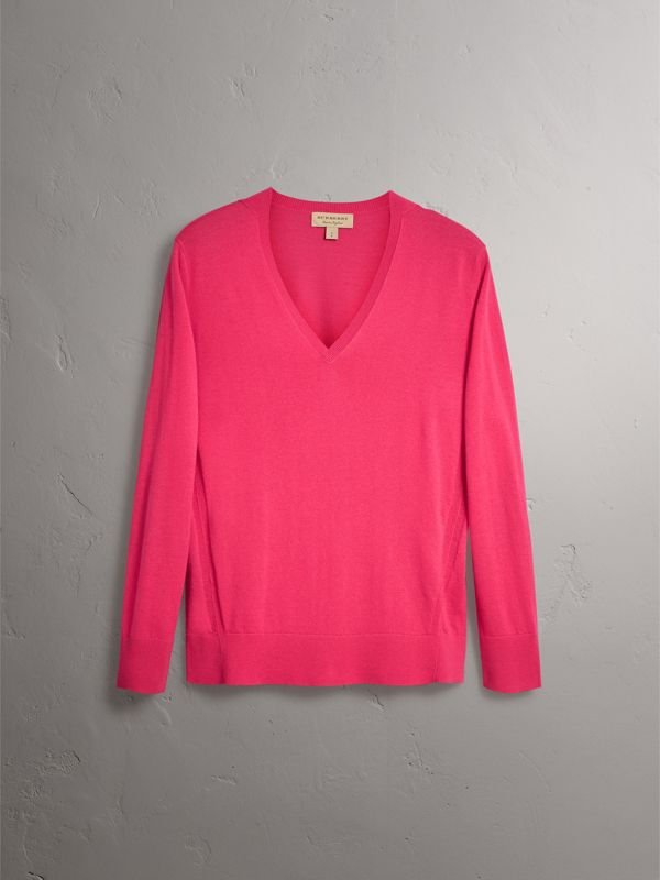 Check Detail Cashmere V-neck Sweater in Bright Pink - Women | Burberry - cell image 3