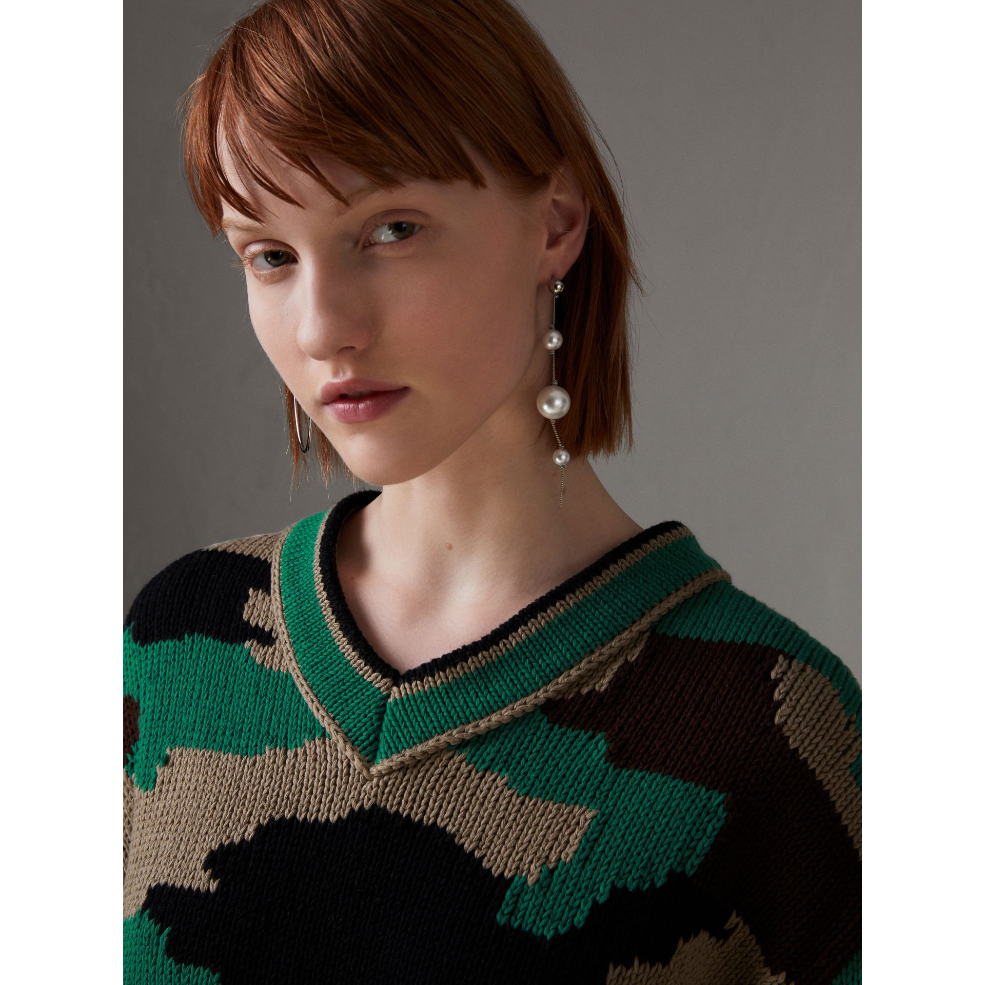 Camouflage Intarsia Cotton V-neck Sweater in Military Khaki - Women | Burberry Australia - gallery image 1