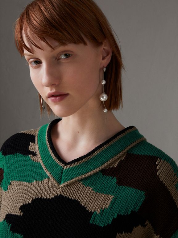 Camouflage Intarsia Cotton V-neck Sweater in Military Khaki - Women | Burberry - cell image 1