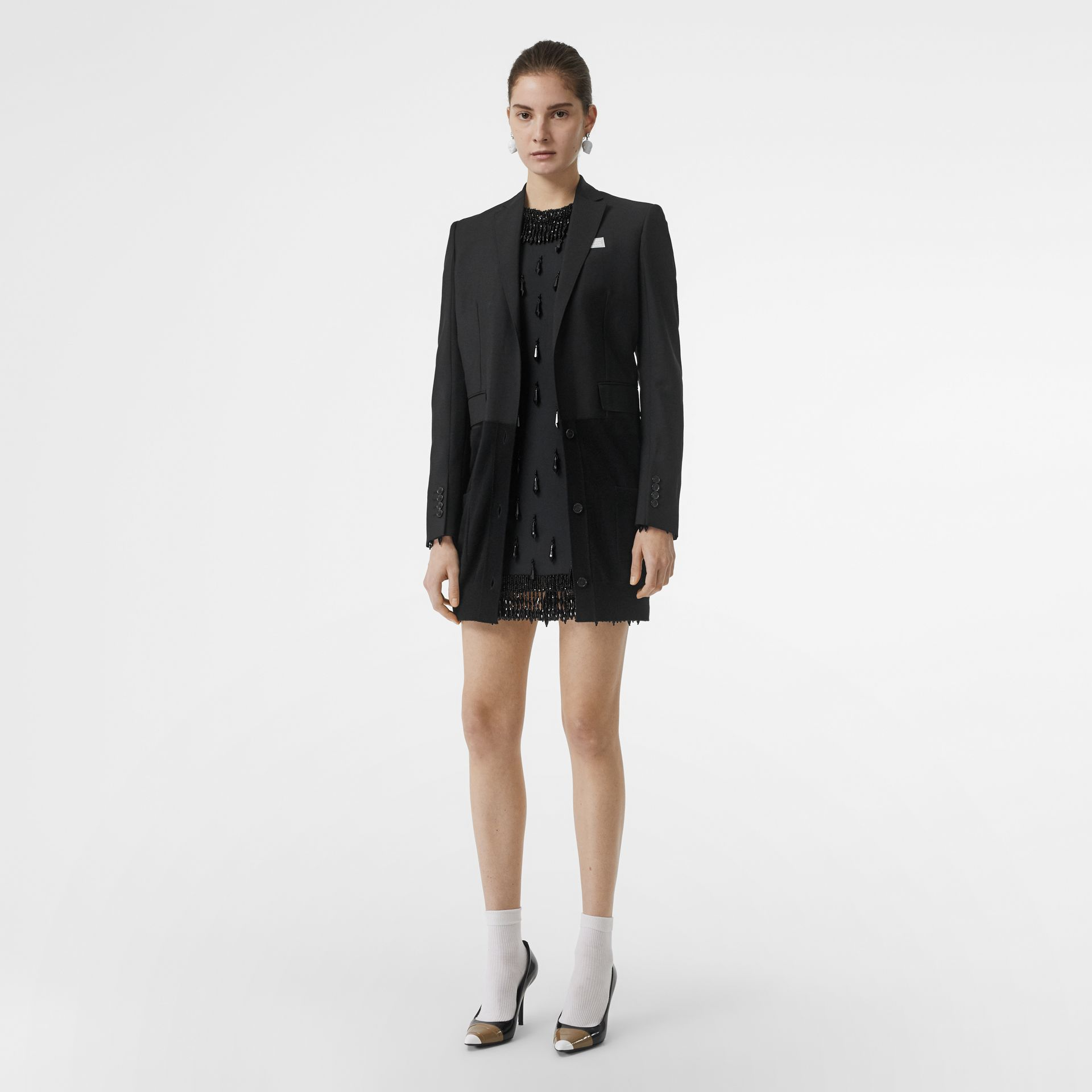 Minirobe en cady stretch avec ornements (Noir) - Femme | Burberry - photo de la galerie 6