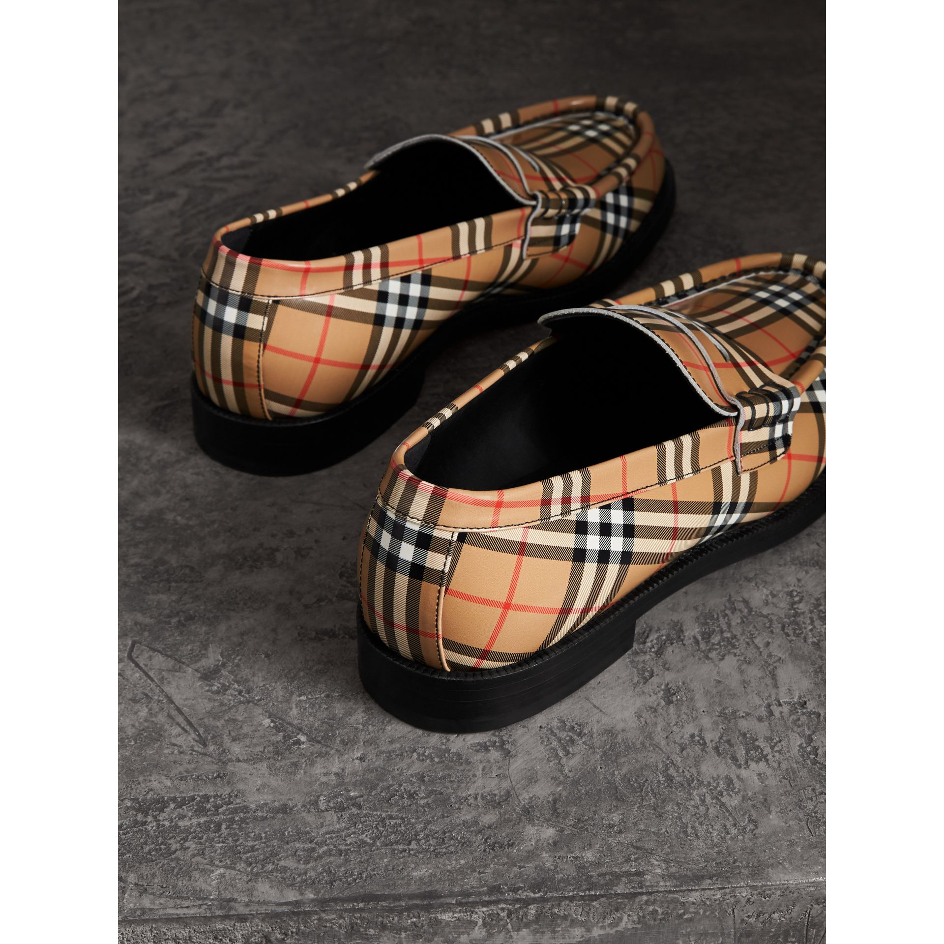 Gosha x Burberry Check Leather Loafers in Antique Yellow - Men | Burberry Hong Kong - gallery image 2