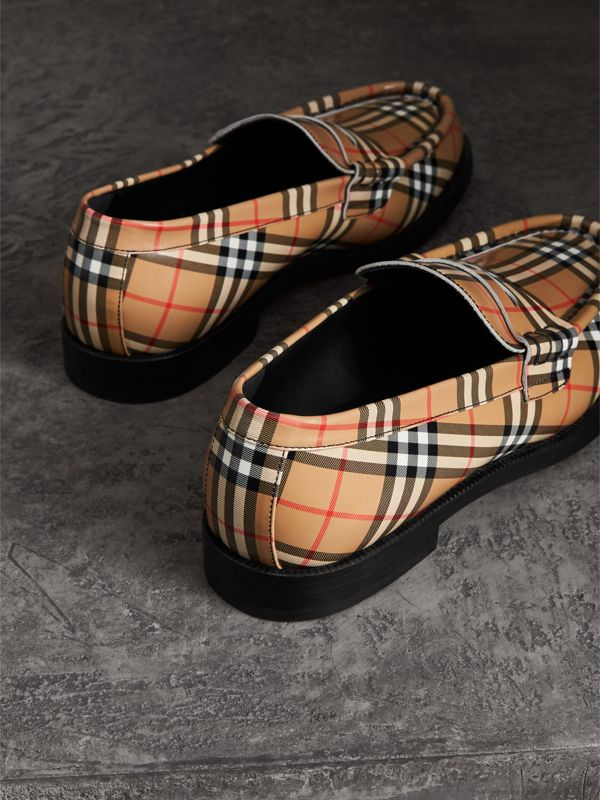 Gosha x Burberry Check Leather Loafers in Antique Yellow - Men | Burberry Hong Kong - cell image 2