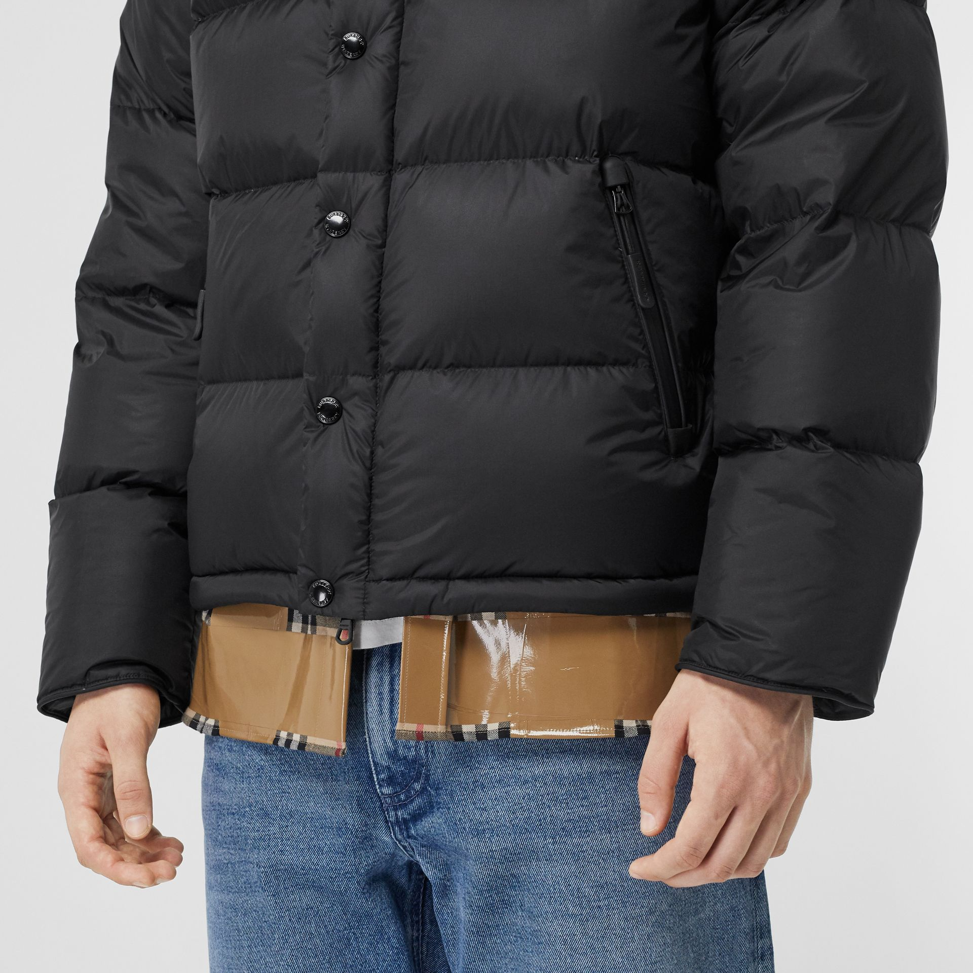 Detachable Sleeve Hooded Puffer Jacket in Black - Men | Burberry - gallery image 3