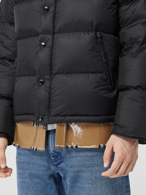 Detachable Sleeve Hooded Puffer Jacket in Black - Men | Burberry - cell image 3