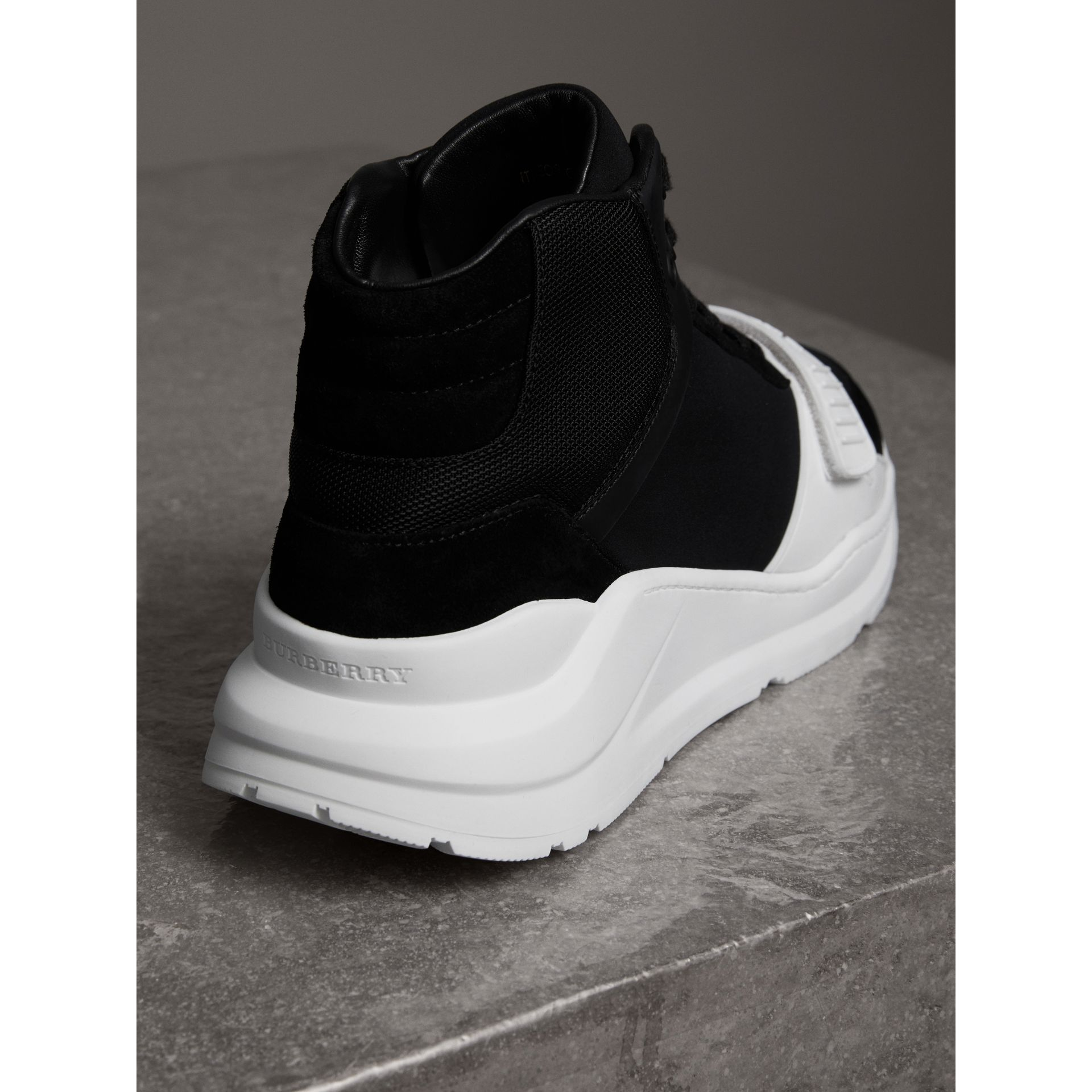 Suede Trim Neoprene High-top Sneakers in Black/optic White | Burberry Canada - gallery image 3