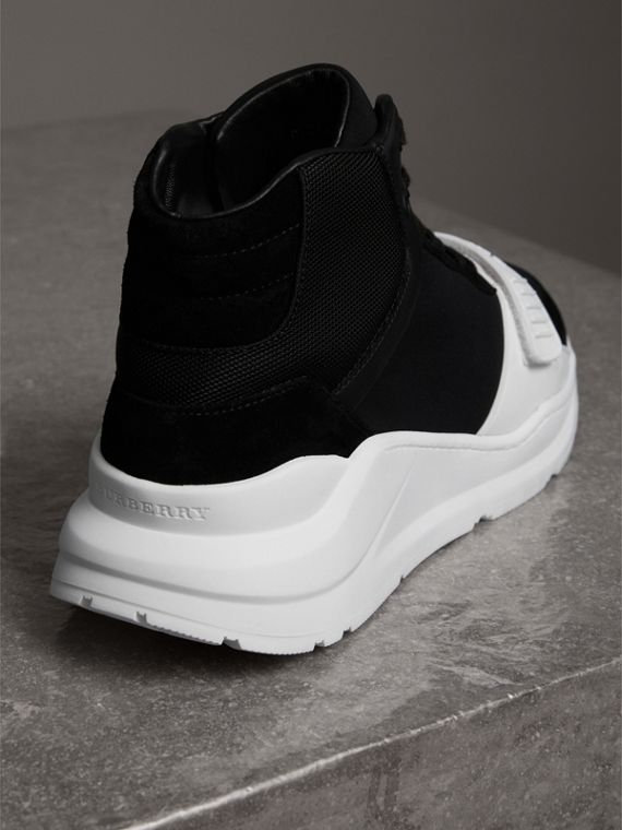 Suede Trim Neoprene High-top Sneakers in Black/optic White | Burberry Canada - cell image 3