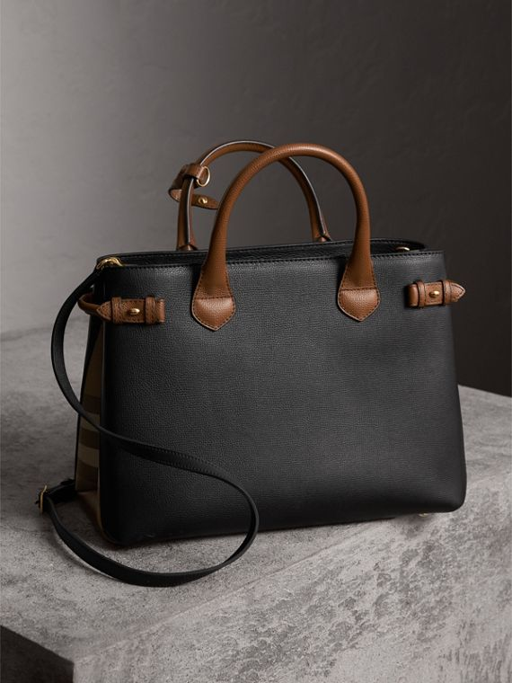 The Medium Banner in Two Tone Leather in Black/tan - Women | Burberry Hong Kong - cell image 2