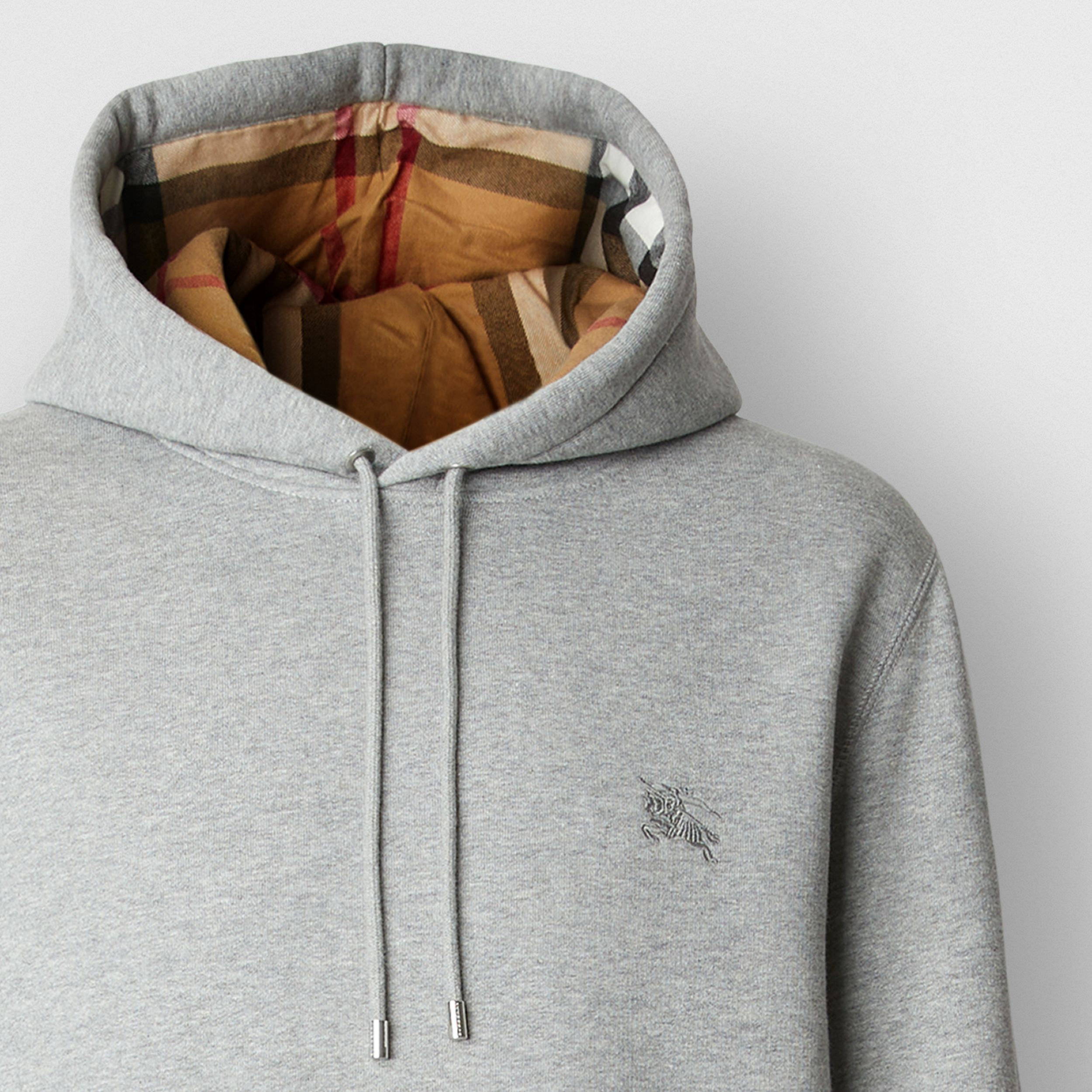 Embroidered EKD Cotton Blend Hoodie in Pale Grey Melange - Men | Burberry Canada - 2