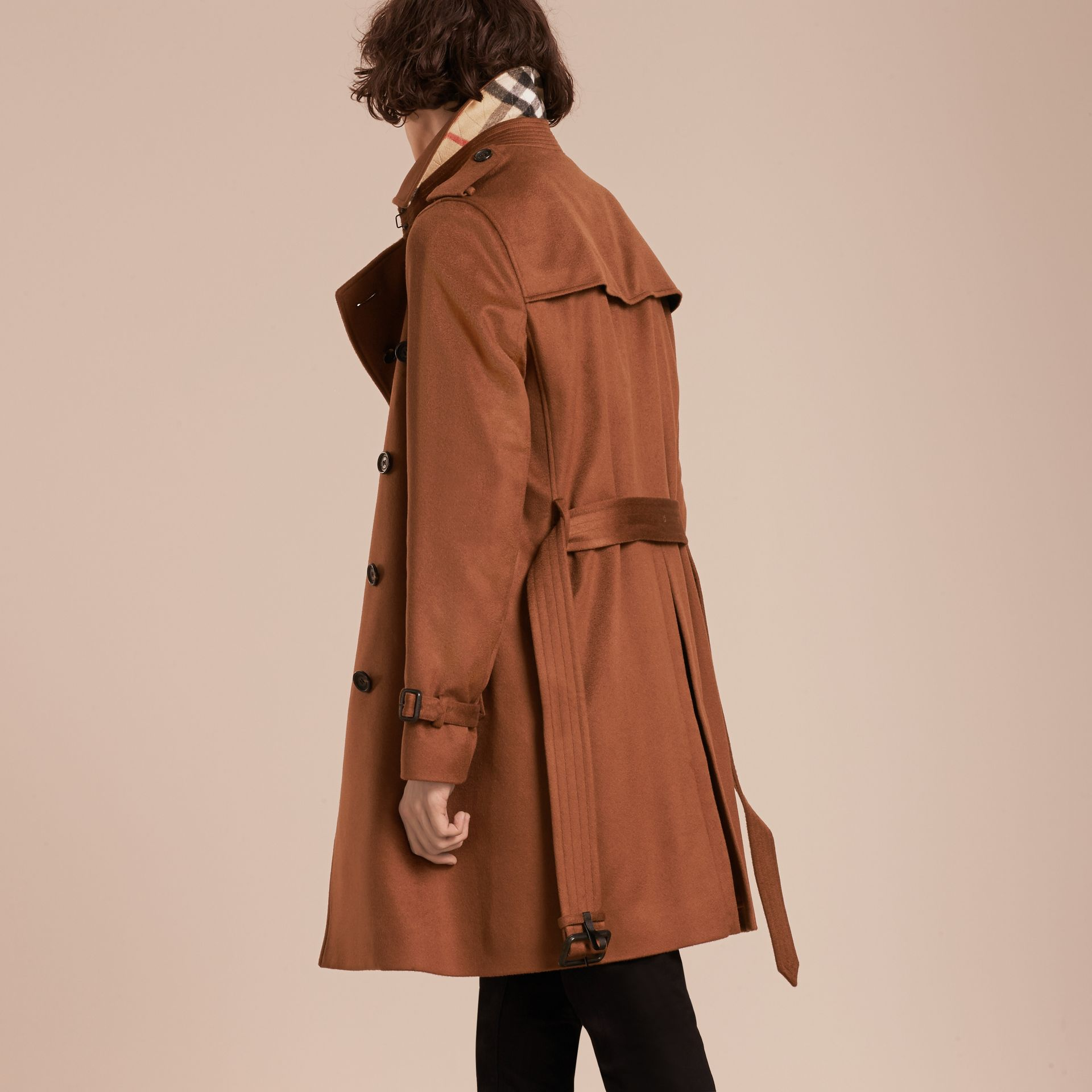 Cashmere Trench Coat Umber Brown - gallery image 3
