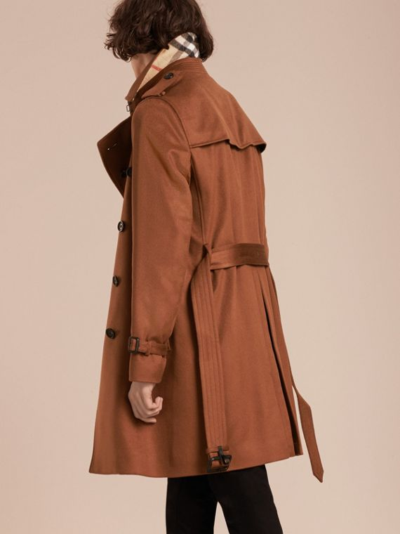 Cashmere Trench Coat Umber Brown - cell image 2