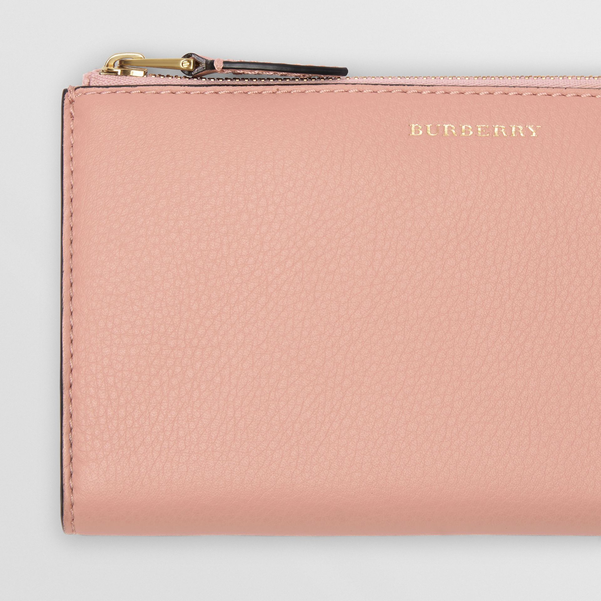 Two-tone Leather Ziparound Wallet and Coin Case in Ash Rose - Women | Burberry - gallery image 1