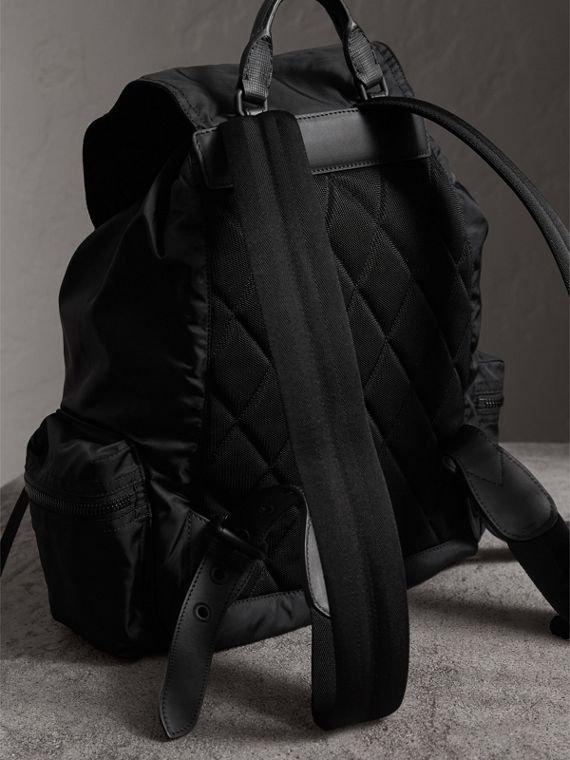 The Large Rucksack in Technical Nylon and Leather in Black - Men | Burberry Australia - cell image 3