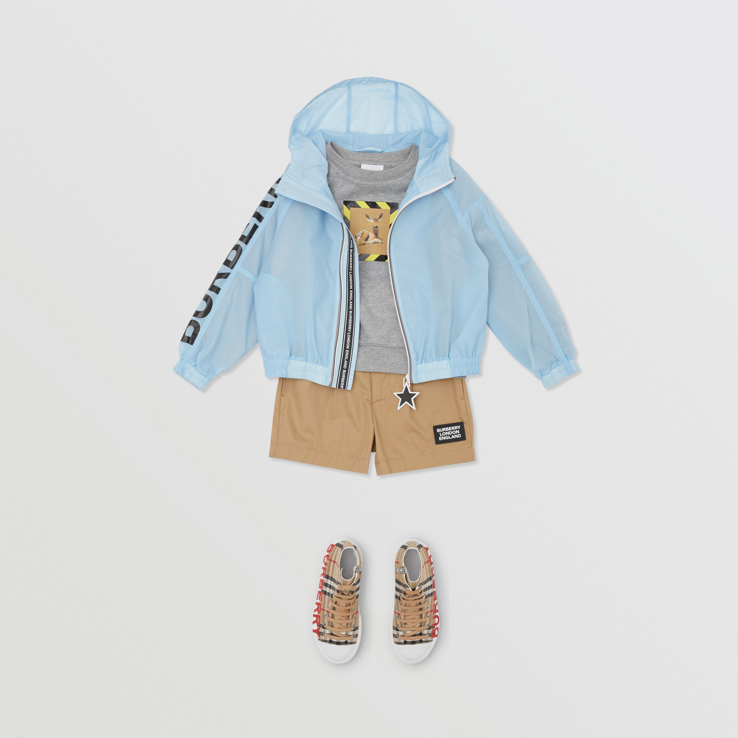 Star Detail Logo Print Lightweight Hooded Jacket in Light Blue | Burberry - 4
