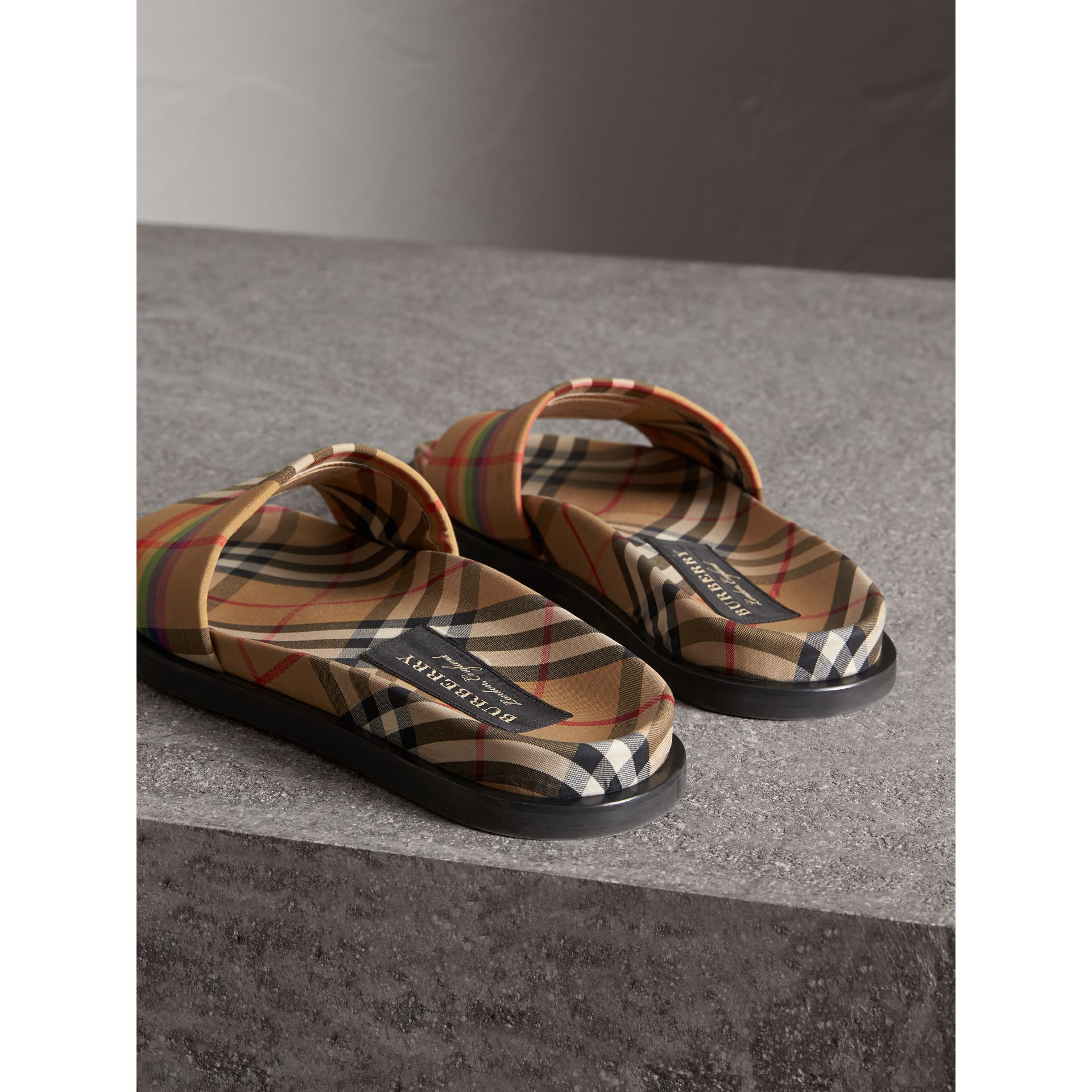 Rainbow Vintage Check Slides in Antique Yellow - Women | Burberry Australia - gallery image 2