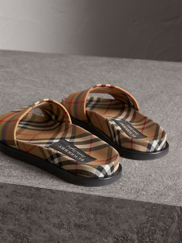 Rainbow Vintage Check Slides in Antique Yellow - Women | Burberry Australia - cell image 2
