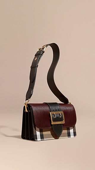The Medium Buckle Bag in House Check and Textured Leather