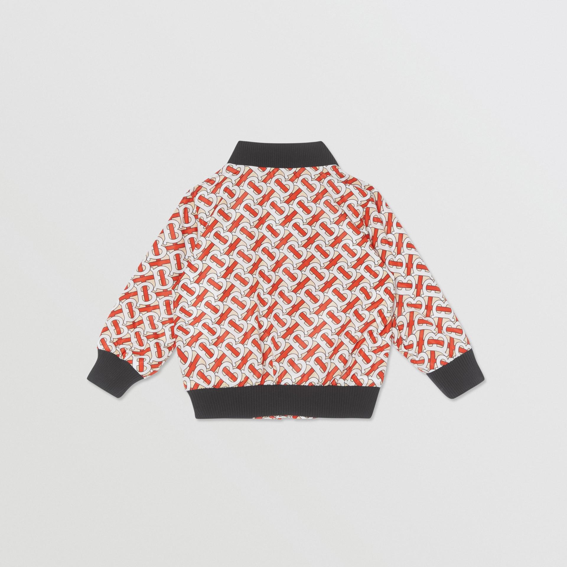 Monogram Print Nylon Bomber Jacket in Vermilion Red - Children | Burberry - gallery image 3