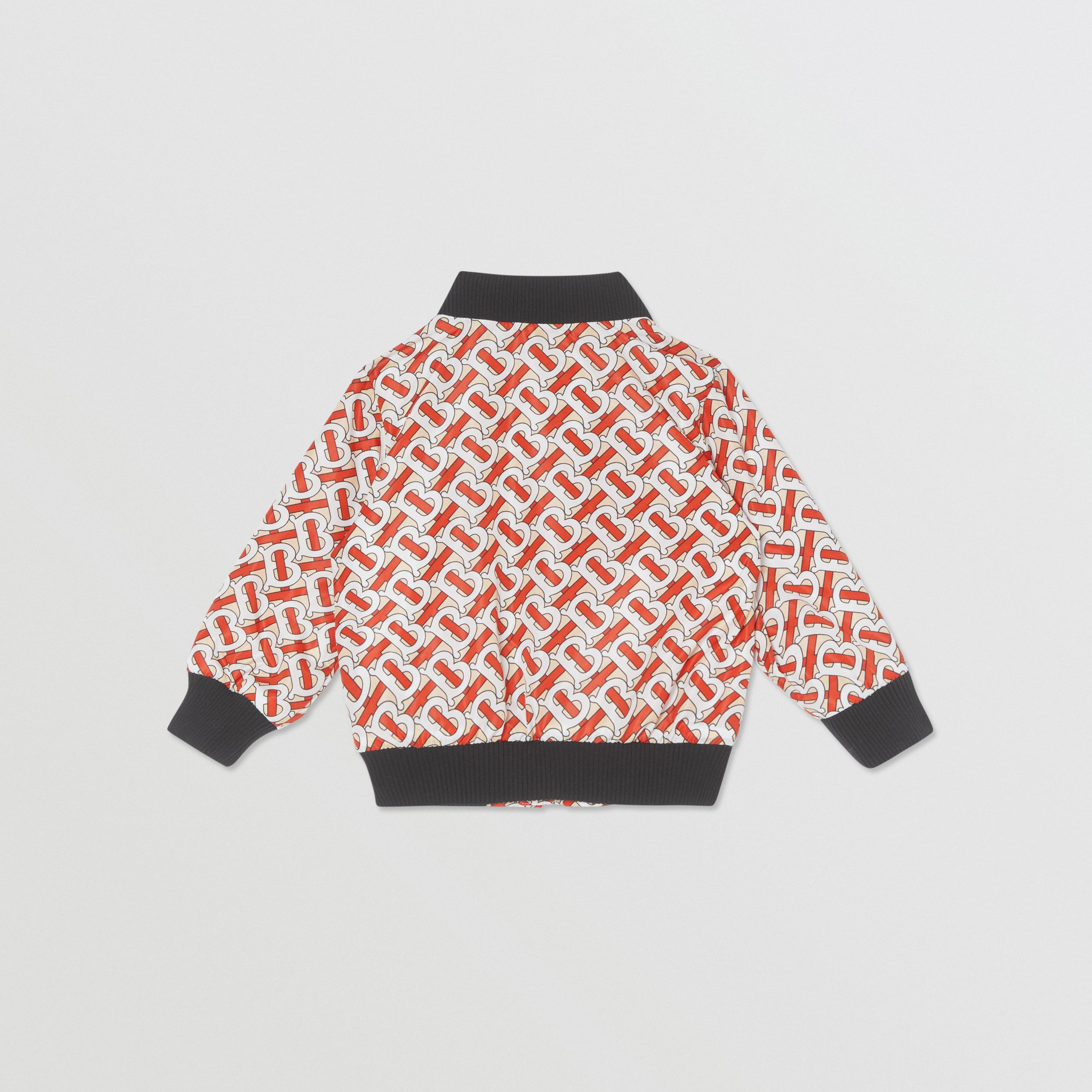 Monogram Print Nylon Bomber Jacket in Vermilion Red - Children | Burberry - 4