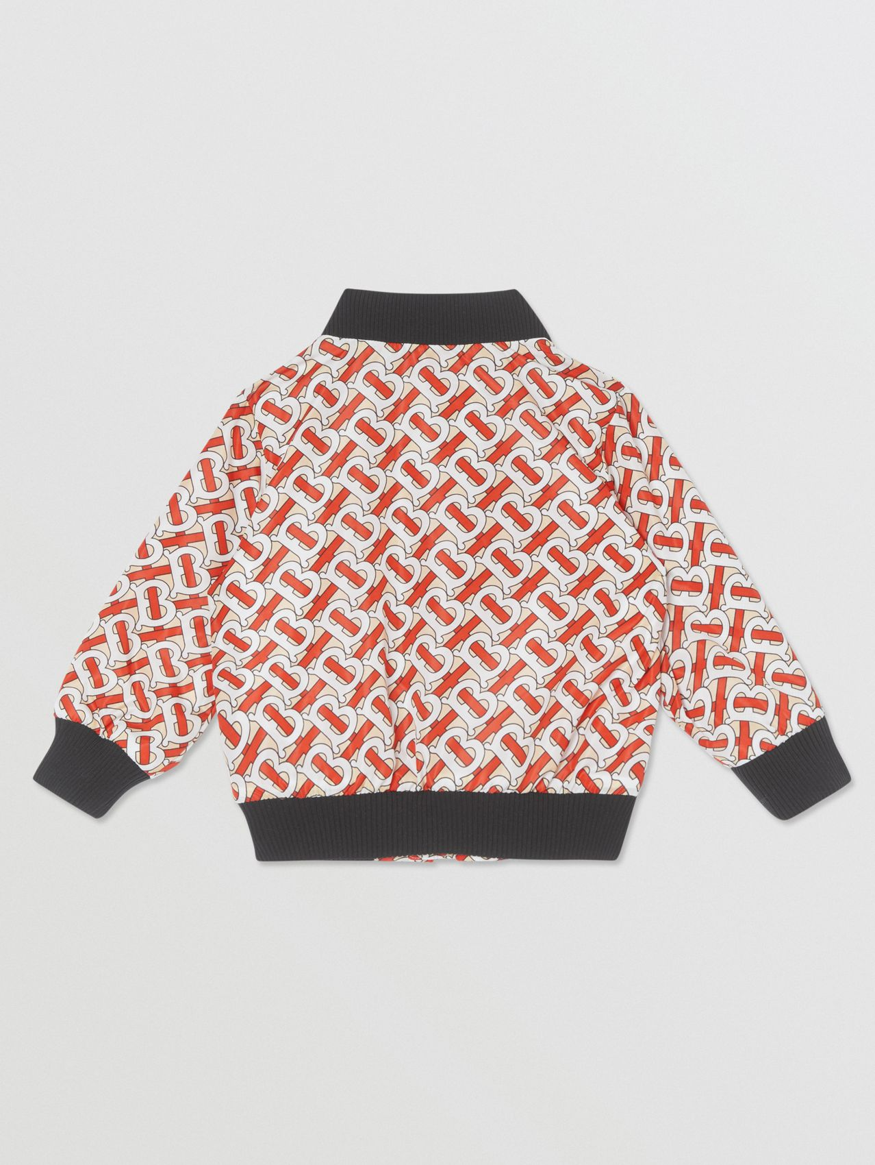 Monogram Print Nylon Bomber Jacket (Vermilion Red)