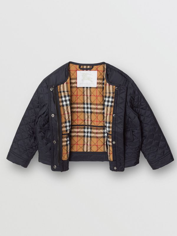 Lightweight Diamond Quilted Jacket in Navy - Children | Burberry - cell image 3