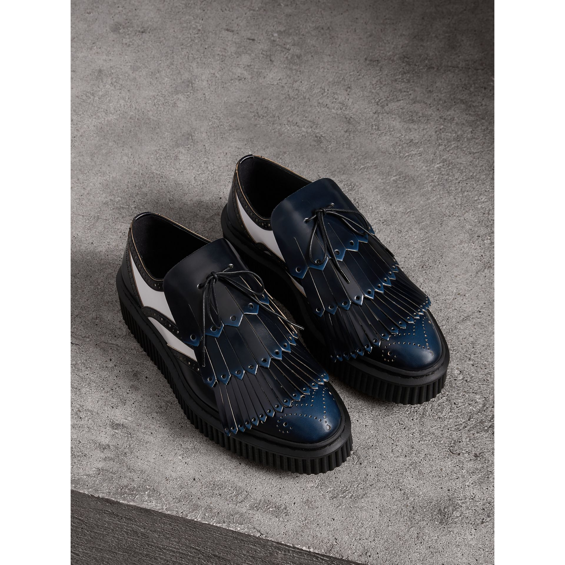 Two-tone Lace-up Kiltie Fringe Leather Shoes in Navy Blue - Women | Burberry Singapore - gallery image 1