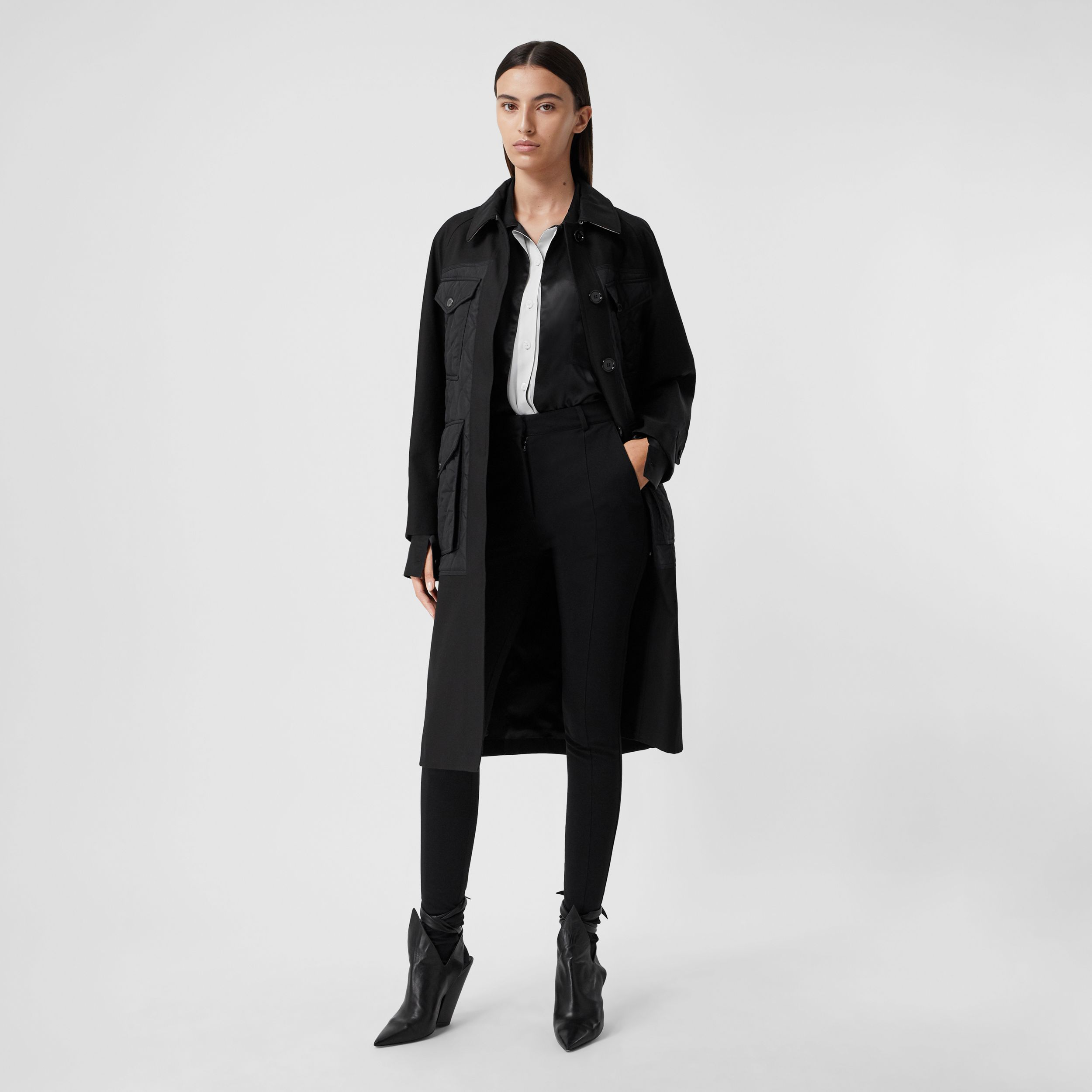 Diamond Quilted Panel Cotton Gabardine Car Coat in Black - Women | Burberry Australia - 1