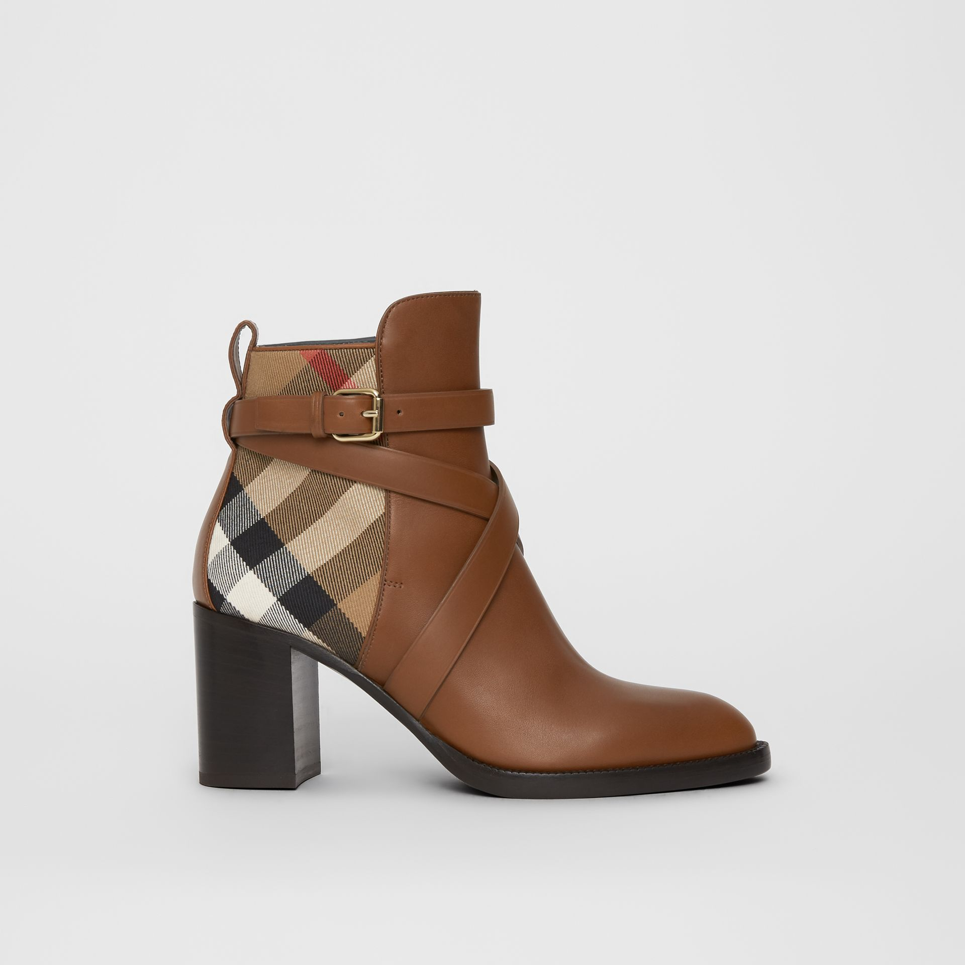 House Check and Leather Ankle Boots in Bright Camel - Women | Burberry United Kingdom - gallery image 5