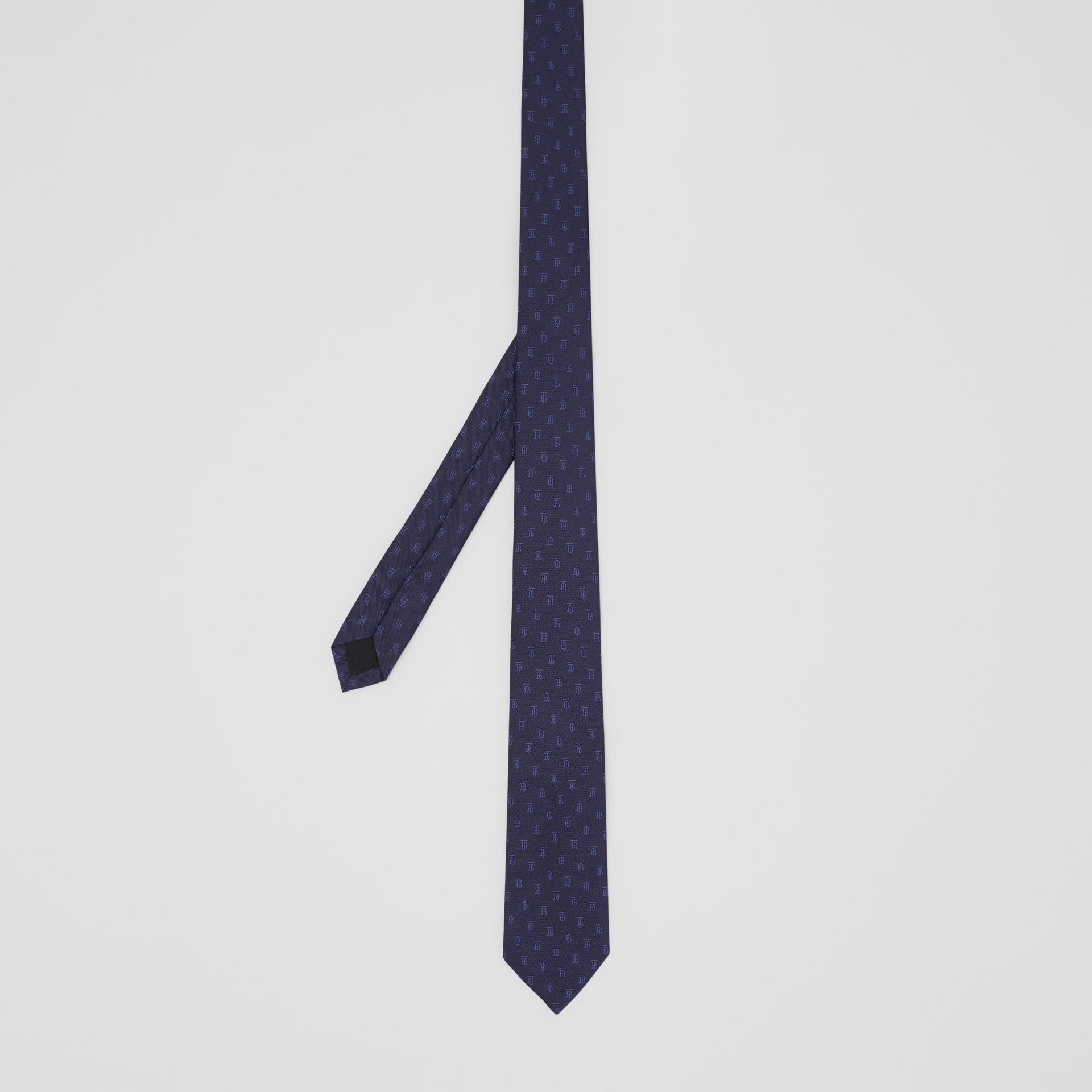 Classic Cut Monogram Motif Silk Jacquard Tie in Navy - Men | Burberry United Kingdom - gallery image 4